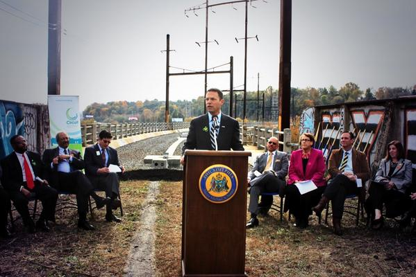 Broke ground on bridge over Schuylkill River that will soon connect #MontcoPa & Philly trail systems. Regionalism! http://t.co/DZe157p2wf