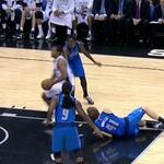 VIDEO: Spurs' Boris Diaw breaks Dirk's ankles twice in first half http://t.co/zuaf0TNz8G http://t.co/f9hpuch6Dc