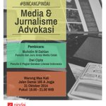"#Jogja ""Media & Jurnalisme Advokasi"" Hari ini di @WarungMasKali | 19.00 | @muhidinmdahlan dan dwi cipta. http://t.co/7Jd0DHg9a1"