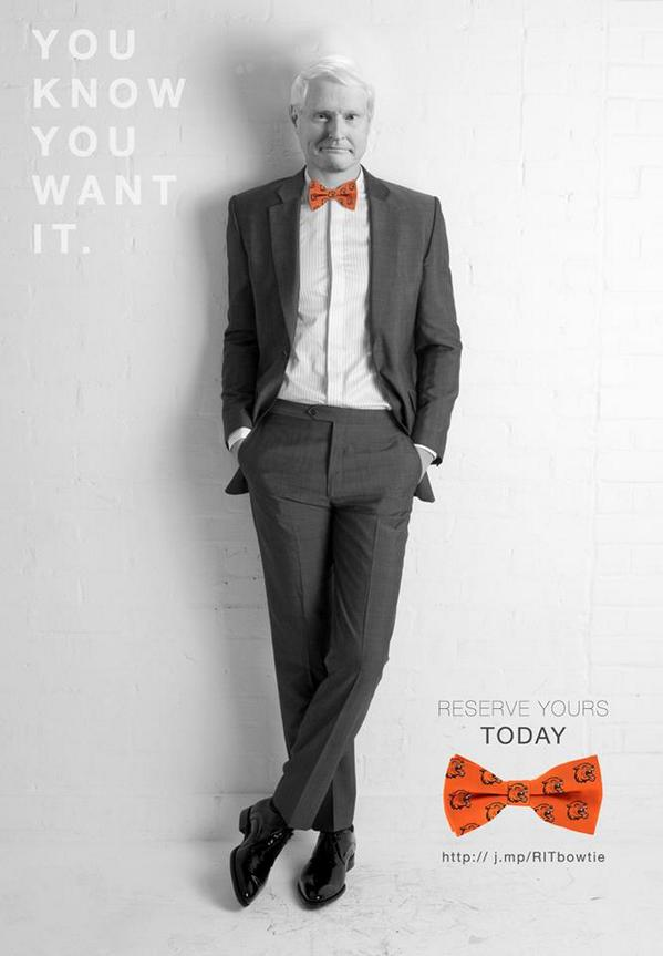 It's an #onlyatRIT moment: Dr Destler gets behind the #RIT bow tie campaign....http://t.co/Lf3jtsq3g9 #ROC http://t.co/N7FEWFr4Md