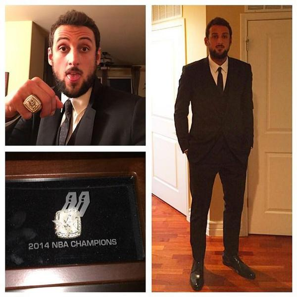 Congrats to @marcobelinelli who was looking sharp last night when he got his 2014 NBA Championship ring! http://t.co/EOD4KmJjrm
