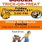 RT @UMDBulldogs: Trick-or-Treat Halloween when @UMDSoccer takes on @BSUBeavers @ 3 pm. Kicks for Cause (@chumduluth) hosts Food Drive http://t.co/YlkaKMs4zZ