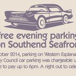 FREE PARKING ON SOUTHEND SEAFRONT AFTER 6PM, THATS SOMETHING TO CELEBRATE. #freeparking #halfterm #celebrate #essex http://t.co/0QqWyRCk22