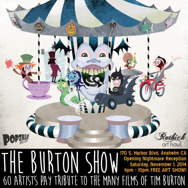 http://t.co/l6yMAfztjH The #BurtonShow @ @rothickarthaus #Anaheim opens 11/1, Burton character cosplay welcome! http://t.co/qtZWGz49aD