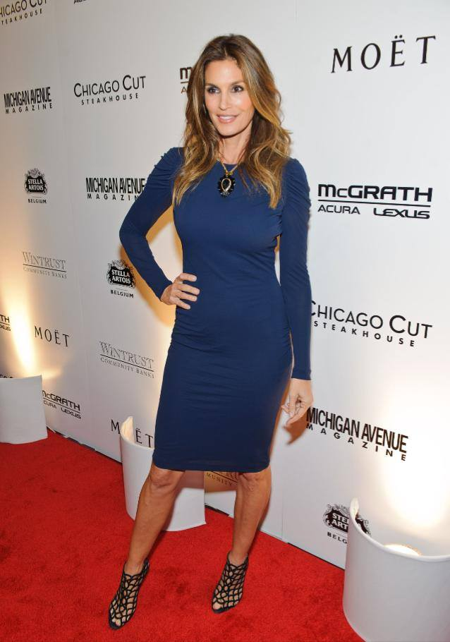 Cindy Crawford @cindycrawford: Last night's party celebrating my @michiganavemag cover! So good to be back in Chicago. Dress is @WorldMcQueen. http://t.co/TwiW6rqpSi