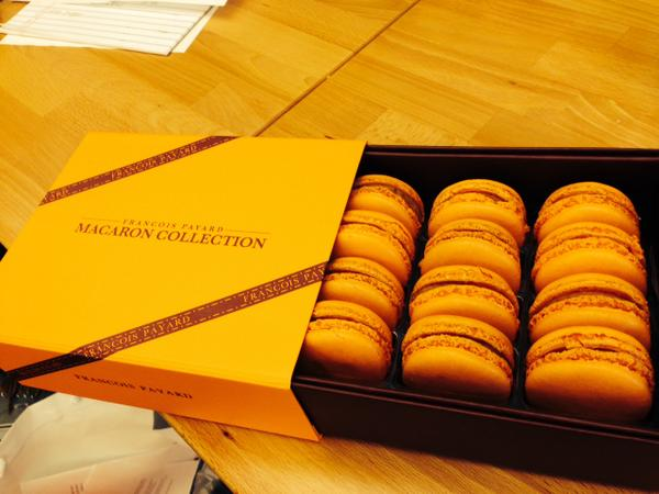 Thank you @francoispayard for sending over these amazing pumpkin spice macarons. We're already addicted. http://t.co/bBNRZqaDg2