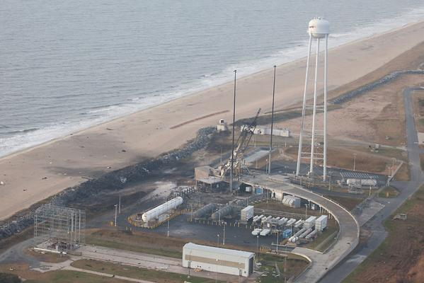 Here's an aerial view of the @NASA_Wallops  launchpad today. Not as bad as I would have thought. Amazing, actually. http://t.co/tWkH9uTV6F