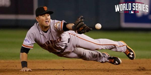 Greg Fitzsimmons (@GFitzsimmons): What a freaking play! #YESYESYES #WorldSeries #Game7 #SFGiants #Rookie http://t.co/jwhLpnbkAV