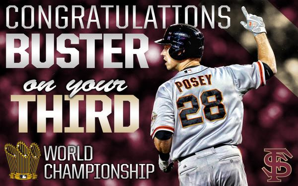Congrats to @BusterPosey & the @SFGiants 2014 World Series Champions @FSU_Baseball Go #Noles http://t.co/IL1WSifWw0