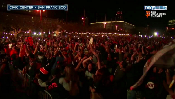 They're going CRAZY in San Francisco! #SFGiants #WorldSeries http://t.co/833dLAS0TU