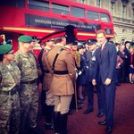 Prince Harry greets the @PoppyLegion London Poppy Appeal Routemaster Bus at Buckingham Palace #LestWeForget http://t.co/u6nc5oBbh3