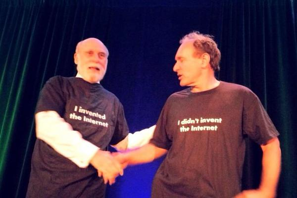 "Unique t-shirts for @vgcerf and @timberners_lee (on the back ""I didn't invent the Web"" & ""I invented the Web"") #w3c20 http://t.co/F7ZKdNnuNM"