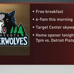 The @MNTimberwolves are giving away free breakfast in the Target Center skyway this morning! #EyesOnTheRise http://t.co/AC55OuOY4g