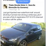 YO BLOEMIES! PLEASE DRIVE FAR AWAY FROM KINGSPARK,HE WAS HIJACKED WHEN HE WAS DRIVING BY.. http://t.co/qzK6rswVcc