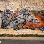 Horseman of the Apocalypse. #perth #perthstart #perthstreetart An older style panel in Highgate http://t.co/A5tVB24ypt