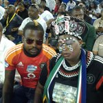 Pirates fans, Dj Cleo and Joy Chauke at the memorial service. #SenzoMeyiwa #sabcnews http://t.co/MZLhrbpfrc