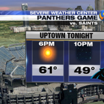 Panthers game weather tonight will be great, but on the cool side. Grab the jackets and be loud to stay warm. http://t.co/p6abYtKfrF