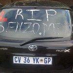 "RT @Irockdegul: Since monday thats how my car looked like in respect of Senzo Meyiwa Dankie boi ""Nzori"" Salute http://t.co/qoqbIdllUY"