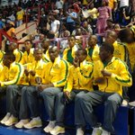 Members of the Mamelodi Sundowns soccer team take their seats at the memorial service. #SenzoMeyiwa #sabcnews http://t.co/Qh8MjWQhSB