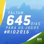 RT @Brasil2016: #BomDia Hoje é quinta-feira, 30 de outubro! Faltam 645 dias para os Jogos #Rio2016! \o/ http://t.co/jf2u9RTBvL