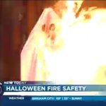 AMAZING to see how quickly a homemade costume catches fire vs. one made with fire resistant material. #KSLAM http://t.co/kU61dGfoQx