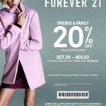¡Forever 21 Friends & Family comienza hoy! ¡30 de octubre hasta el 2 de noviembre! #PlazaDelCaribe #Ponce http://t.co/lYknwz1yt5