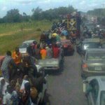 The people of Mubi evacuating from their hometown in droves after Boko Haram captured and hoisted their flags http://t.co/tTPHkL9xjF