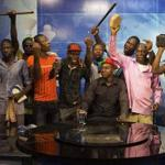Fight the power - Burkina Faso protesters take over state TV studio, one wearing Public Enemy t-shirt. http://t.co/459W4Os12Q @MrChuckD