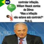 """""""Juros sobem para controlar inflação. William Waack zomba de Dilma: """"Mas a inflação não estava sob controle?"""" Pois é. http://t.co/soX6vyDsXR"""