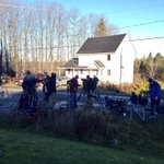 Media waits outside the home of Kaci Hickox and her boyfriend Thursday morning. @FoxABCMaine http://t.co/E3PAVIohMf