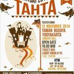 "Ayo nonton #ARTDAY2014 ""TAHTA"" | 13 November 2014 at Concert Hall TBY | VVIP 40k, VIP 35, Fest 25 @pro2jogja http://t.co/fz4R33njpg"