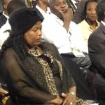 #SenzoMeyiwas parents have arrived at the #MemorialService. Father went backstage, here is the mother. http://t.co/o6CzlWU32F