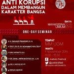 "@twitUGM @UGMYogyakarta | SemNas @justisiafest ""Urgensi Pendidikan Antikorupsi dalam Membangun Karakter Bangsa"". http://t.co/jgPCtvlVyv"
