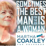 """My thoughts on Tuesday: """"Sometimes the best man for the job is a woman""""; this time its @marthacoakley #mapoli #GOTV http://t.co/Gz9WWtRGqh"""