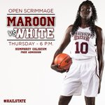 Maroon-White Scrimmage tonight at 6! Hope to see you at the Hump! Autographs on court after the scrimmage! #HailState http://t.co/vBnq51SrEs