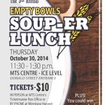 Skip the food court and head to the Empty Bowls Soup-er Lunch @mtscentre at 11:30 am in support of @WinnipegHarvest http://t.co/QHKvpuVWnH