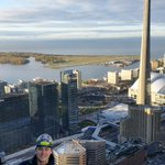 On top of the tallest TD tower today, working on the swing stage on the 55th floor. #Toronto #CNTower http://t.co/Y7TZPB7AyR