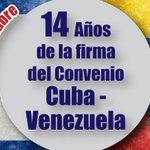 #EfemérideDelDía 30 de octubre, se cumplen 14 años de la Firma del Convenio Cuba - Venezuela. http://t.co/X4remGvggO