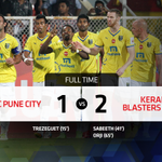 FT: @FCPuneCity 1-2 @KBFCOfficial The visitors secure their first #HeroISL win with a fine performance! #PUNvKER http://t.co/5aQRfuImsV