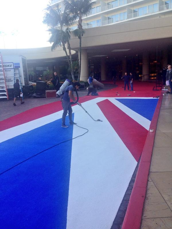The @BAFTALA and @BBCAMERICA red carpet is shaping up well outside the Beverly Hilton this morning #Britannias http://t.co/DPezw78gtJ