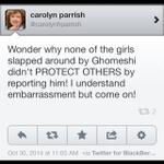 Honest @carolynhparrish I am so disappointed by this tweet. Its victim blaming abused women by an MP #JianGhomeshi http://t.co/c1oS0UUHHO