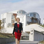 This is Sturgeon doing her Stone Cold Steve Austin strut outside the Scottish Parliament. #SexySocialism http://t.co/6AFayeCZot