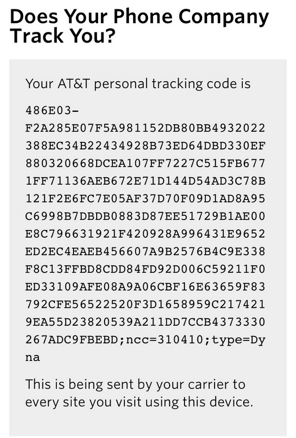 Here's the tracking code AT&T is sending to every website I visit from my phone. http://t.co/N6UP0W7AIH http://t.co/8DvrTUlyDa