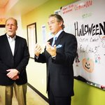 Rep. Loebsack tours the @ICADGroup Co Lab. Who is going to win the Halloween costume contest, @wearesculpt? http://t.co/jP5u3mulE0
