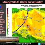 An approaching cold front will bring strong winds to northern AZ Saturday. Much colder air follows for Sunday. #azwx http://t.co/uXzfKrAaSz