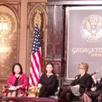 Hillary Clintons remarks have ended. Melanne Verveer introduces the panelists, including Cherie Blair. #WomenInEcon http://t.co/bFaUPVPcjw