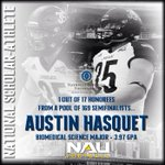 Congrats Austin Hasquet- 1 out of 17 honorees from a pool of 169 - @NFFNetwork Scholar-Athlete #NAUStrong #BigSkyFB http://t.co/e6N0xhF0Wv