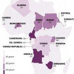 La carte #Afrique longévité au pouvoir: - Compaoré 27 - Museveni 28 - Mugabé 34 - Dos Santos 35 - Obiang 35 - Biya 39 http://t.co/StKqofDjjt