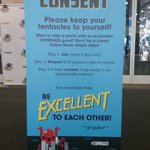 """.@StanLeeComikaze has publicly displayed """"keep your tentacles to yourself"""" harassment policy. #cosplayisnotconsent http://t.co/0S1eP4ahCy"""