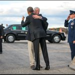 RT @dougmillsnyt: President Obama is greeted by Mike Michaud (D) for Governor of Maine as he arrives in Portland, ME. http://t.co/LE7JmoWlUs
